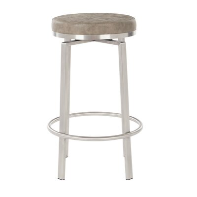 Oresman 26 Swivel Bar Stool Upholstery: Retro Taupe Faux Leather