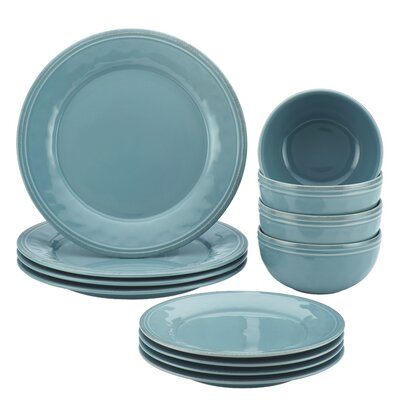 Cucina 12 Piece Dinnerware Set, Service for 4 Color: Agave Blue 51889