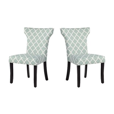 Danville Upholstered Dining Chair Upholstery: Sea Foam Lattice