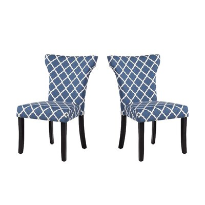 Danville Upholstered Dining Chair Upholstery: Indigo Lattice