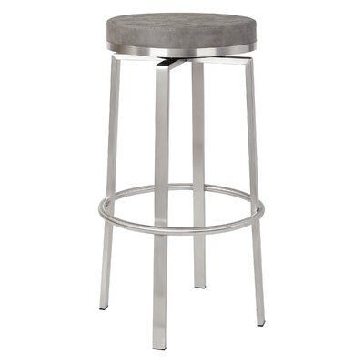 Oresman 30 Swivel Bar Stool Upholstery: Retro Gray Faux Leather