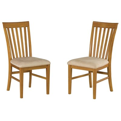 Vadlamudi Solid Wood Dining Chair Upholstery Color: Oatmeal, Frame Color: Caramel