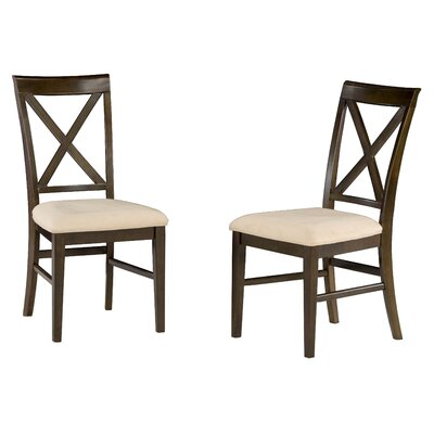 Harvel Solid Wood Dining Chair Upholstery Color: Oatmeal, Frame Color: Walnut