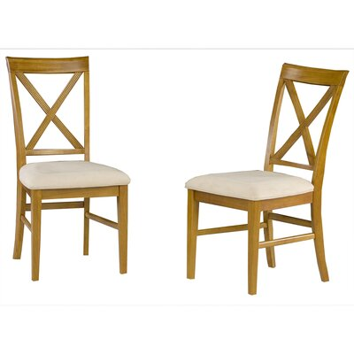 Harvel Solid Wood Dining Chair Upholstery Color: Oatmeal, Frame Color: Caramel