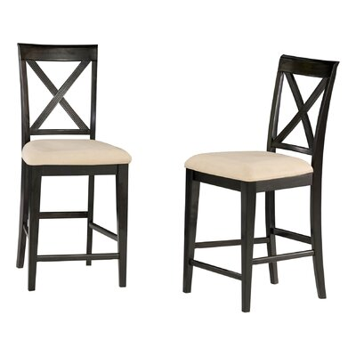 Harvel 25.25 Bar Stool Upholstery Color: Oatmeal, Frame Color: Espresso