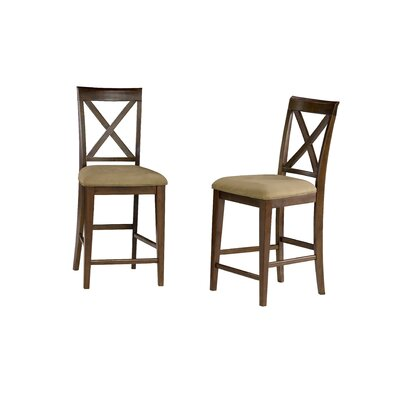 Harvel 25.25 Bar Stool Upholstery Color: Cappuccino, Frame Color: Walnut