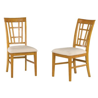 Bluffview Solid Wood Dining Chair Upholstery Color: Oatmeal, Frame Color: Caramel