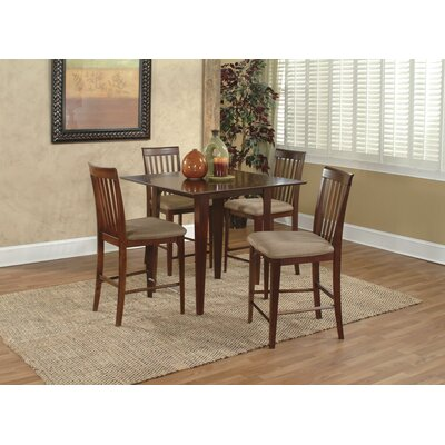 Poulos 5 Piece Counter Height Dining Chair Table Color: Walnut/Beige, Chair Color: Beige