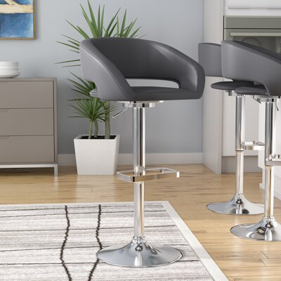 Nolte Adjustable Height Swivel Bar Stool Upholstery: Gray