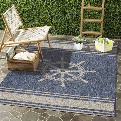 Weese Nautical Helm Navy/Gray Indoor/Outdoor Area Rug Rug Size: Rectangle 79 x 95