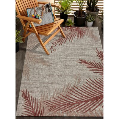 Weilers Blushing Palms Red/Beige Indoor/Outdoor Area Rug Rug Size: Rectangle 79 x 95