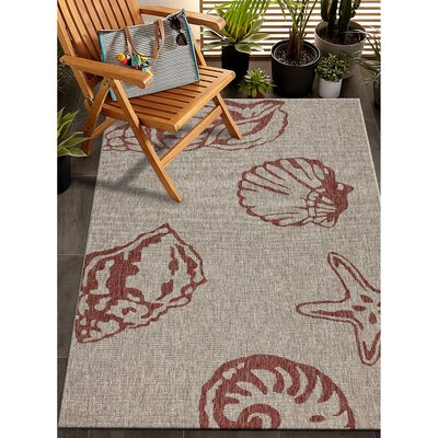 Christiane Beach Red/Beige Indoor/Outdoor Area Rug Rug Size: Rectangle 79 x 95