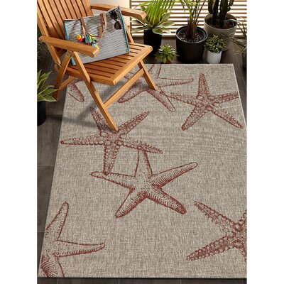 Christiane Coral/Beige Indoor/Outdoor Area Rug Rug Size: Rectangle 5 x 7
