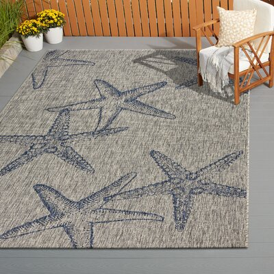 Christiane Gray/Navy Indoor/Outdoor Area Rug Rug Size: Rectangle 5 x 7