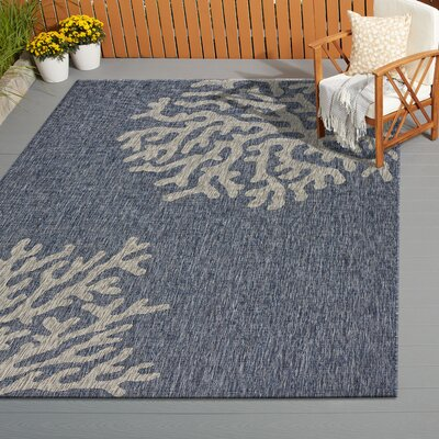 Christiane Reef Navy/Gray Indoor/Outdoor Area Rug Rug Size: Rectangle 5 x 7
