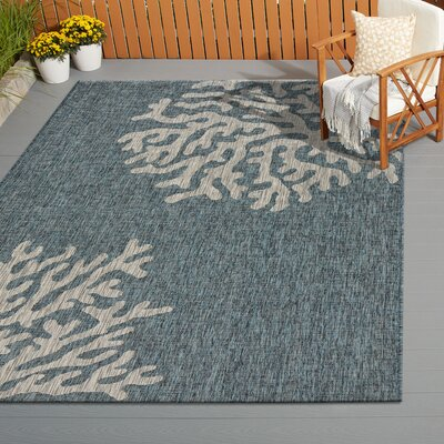 Christiane Reef Blue/Gray Indoor/Outdoor Area Rug Rug Size: Rectangle 5 x 7