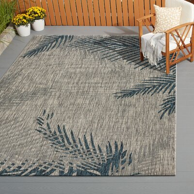 Christiane Tropical Palms Gray/Blue Indoor/Outdoor Area Rug Rug Size: Rectangle 5 x 7