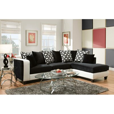 Borrero Sectional Upholstery: Black/White