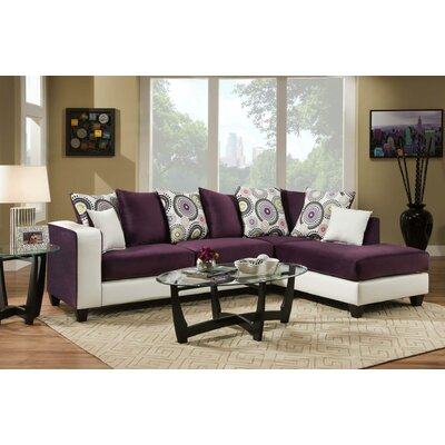 Borrero Sectional Upholstery: Purple/White