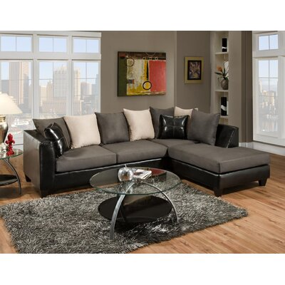 Divilly Sectional Upholstery: Grey/Black
