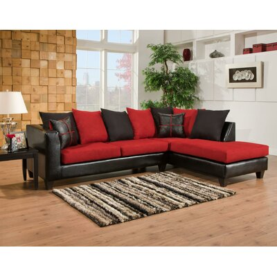 Divilly Sectional Upholstery: Red/Black