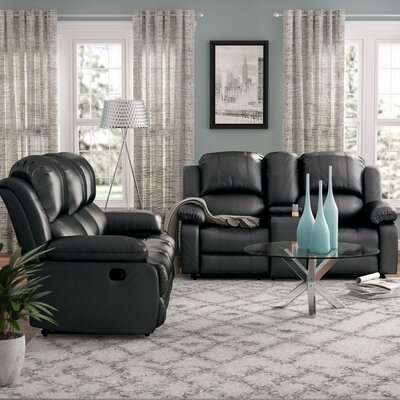 Mayday 2 Piece Faux Leather Living Room Set Upholstery: Black