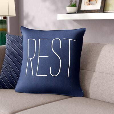 Carnell Rest Cotton Throw Pillow Cover Color: Navy/ White
