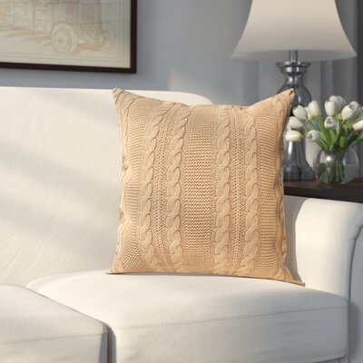 Machias 100% Cotton Throw Pillow Color: Camel