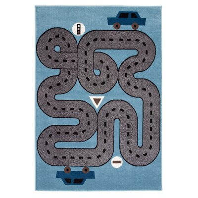 Gulf Racing Roadways Blue Area Rug Rug Size: Rectangle 36 x 56