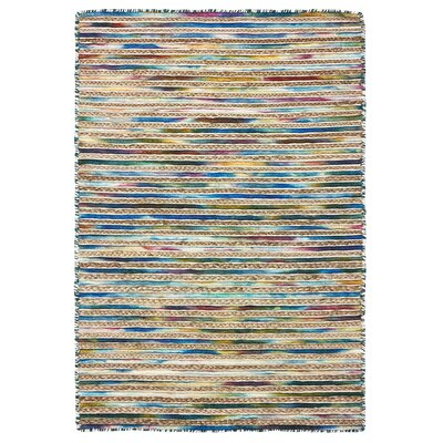 Vitagliano Striped Hand-Tufted Blue Area Rug Rug Size: Rectangle 9 x 12