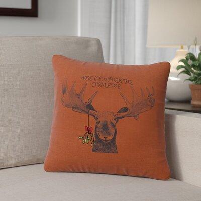 Albury Mistletoe Moose Throw Pillow Color: Paprika