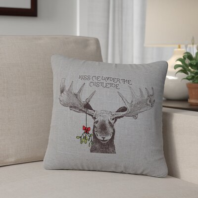 Albury Mistletoe Moose Throw Pillow Color: Gray
