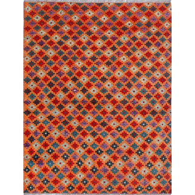 One-of-a-Kind Millender Kayode Hand-Knotted Wool Orange Area Rug