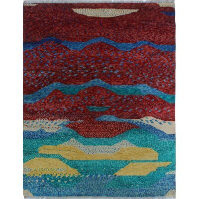 One-of-a-Kind Millender Kwakou Hand-Knotted Wool Burgundy Area Rug