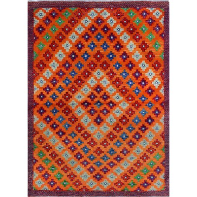 One-of-a-Kind Millender Alake Hand-Knotted Wool Orange Area Rug