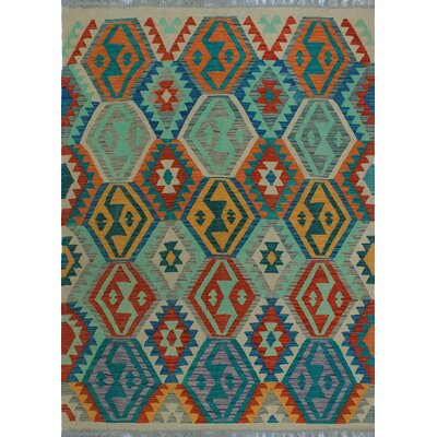 One-of-a-Kind Kratzerville Kilim Salama Hand-Woven Wool Green Area Rug
