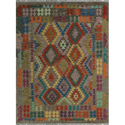 One-of-a-Kind Kratzerville Kilim Folayan Hand-Woven Wool Brown Area Rug