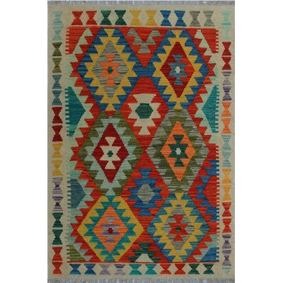 One-of-a-Kind Kratzerville Kilim Ayize Hand-Woven Wool Red Area Rug