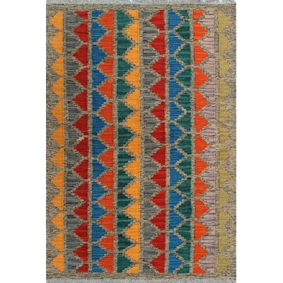 One-of-a-Kind Kratzerville Kilim Nomble Hand-Woven Wool Gold Area Rug