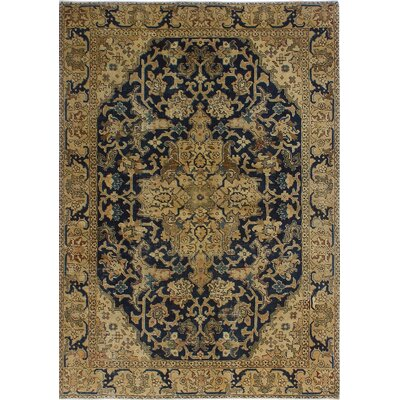 One-of-a-Kind Dian Semi Antique Heriz Ardavan Hand-Knotted Wool Blue Area Rug