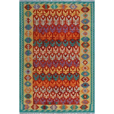 One-of-a-Kind Kratzerville Kilim Lisimba Hand-Woven Wool Red Area Rug