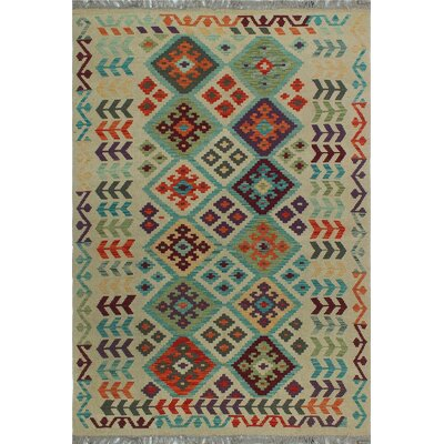 One-of-a-Kind Kratzerville Kilim Mawiyah Hand-Woven Wool Ivory Area Rug