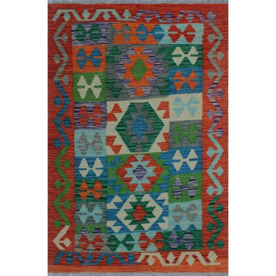 One-of-a-Kind Kratzerville Kilim Olabisi Hand-Woven Wool Green Area Rug