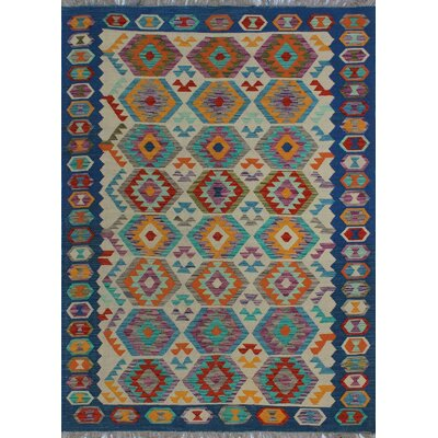 One-of-a-Kind Kratzerville Kilim Gamba Hand-Woven Wool Ivory Area Rug