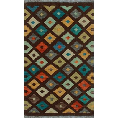 One-of-a-Kind Kratzerville Kilim Faraji Hand-Woven Wool Brown Area Rug