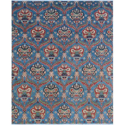 One-of-a-Kind Millbourne Fine Chobi Hadiya Hand-Knotted Wool Blue Area Rug