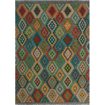 One-of-a-Kind Kratzerville Kilim Umayma Hand-Woven Wool Red Area Rug