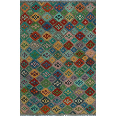 One-of-a-Kind Kratzerville Kilim Lebna Hand-Woven Wool Brown Area Rug