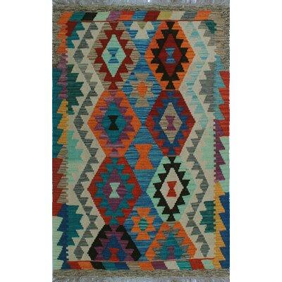 One-of-a-Kind Kratzerville Kilim Gwandoya Hand-Woven Wool Blue Area Rug