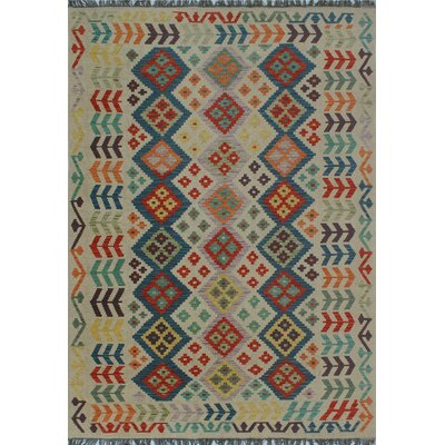 One-of-a-Kind Kratzerville Kilim Oluwa Hand-Woven Wool Ivory Area Rug